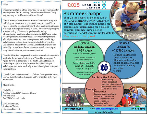 2018 Summer Camp Poster And Letter For Schools